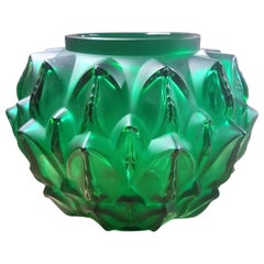 Lalique France Cynara Vase in Emerald Green Crystal as New in Box, Leaves