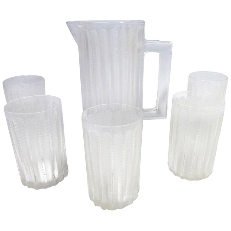 "Lalique France ""Jaffa"" Lemonade Service, Pitcher and Six Glasses For Sale"