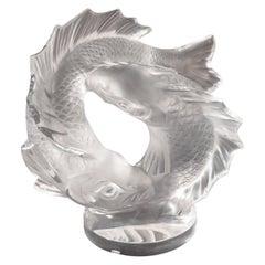 """Lalique France Large """"Deux Poissons"""" Crystal Sculpture"""