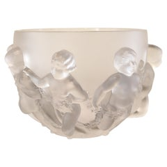 Lalique France Signed Crystal Glass Bowl Luxemburg Greco Roman Children Figure