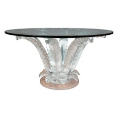 Lalique French Art Deco Style Frosted Glass 'Cactus' Center Table