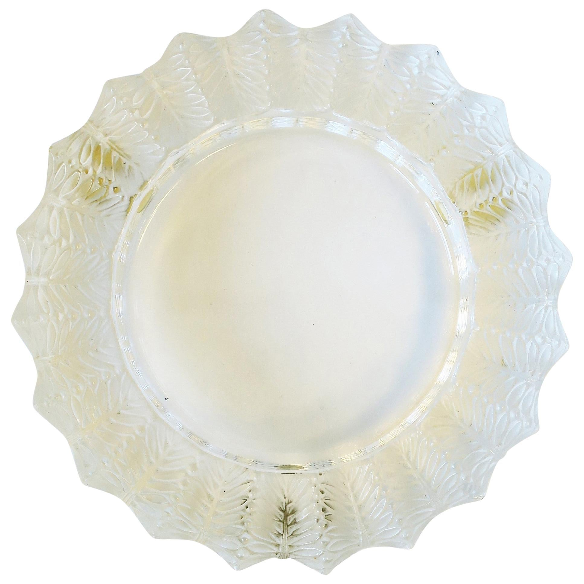 Lalique French Crystal Dish or Ashtray with Leaf Design