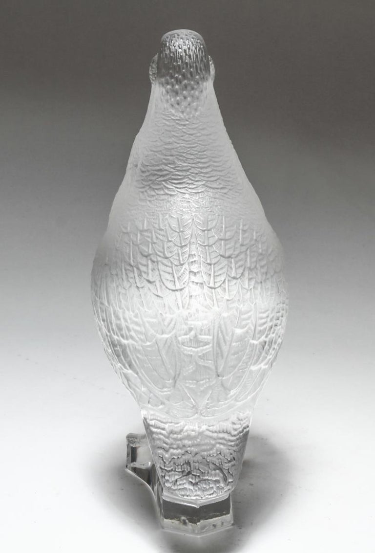 Modern Lalique Frosted Crystal Art Glass Partridge Figurine For Sale