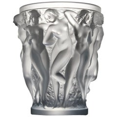 Lalique Frosted Glass Bacchantes Vase, 1927-1980s Production