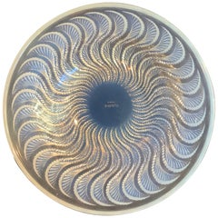 Lalique Iridescent Bowl with Feathered, Swirl Design Marked R Lalique