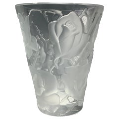 Lalique Ispahen Rose Crystal Vase