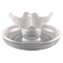 Lalique Jewelry Bowl in Clear Frosted Art Glass with Birds, 1980s