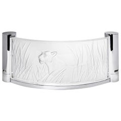 Lalique Kora Large Lioness Crystal Wall Light, Sconce, Chrome Accents, Signed