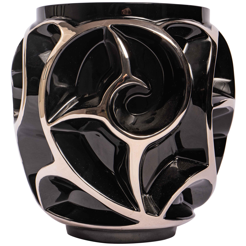 Lalique Limited Edition Tourbillons Vase Black Crystal with Platinium Enamel