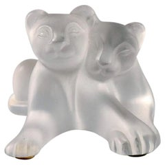 Lalique Lion Couple in Frosted Art Glass, 1980s