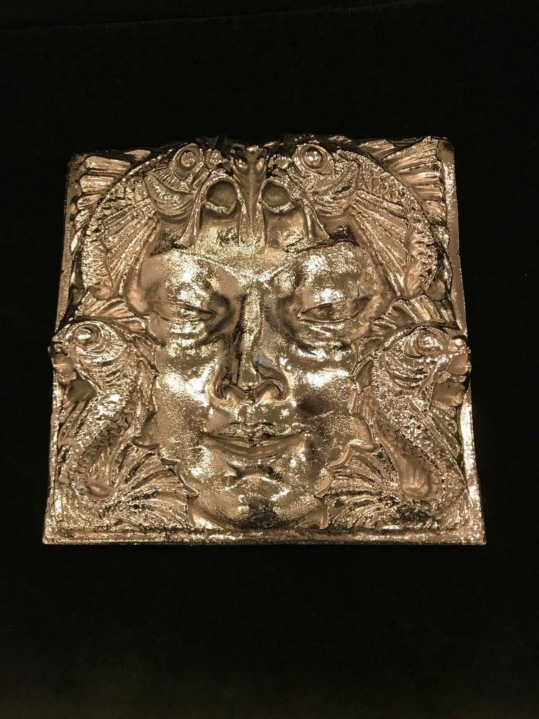 Art Deco  Nickel Masque de Femme Face Wall Plaque Sculpture For Sale