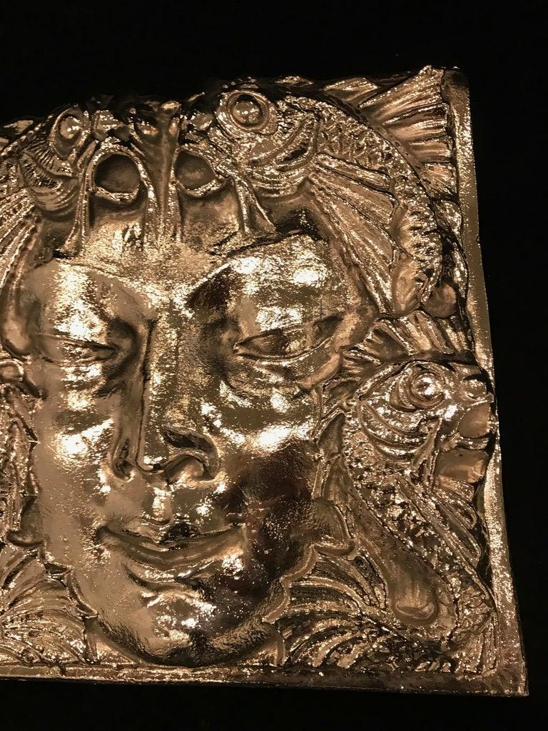 Nickel Masque de Femme Face Wall Plaque Sculpture In Excellent Condition For Sale In North Bergen, NJ