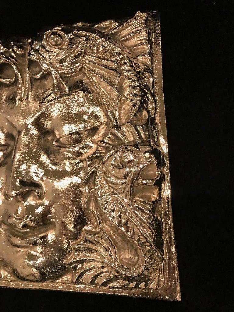 Late 20th Century  Nickel Masque de Femme Face Wall Plaque Sculpture For Sale