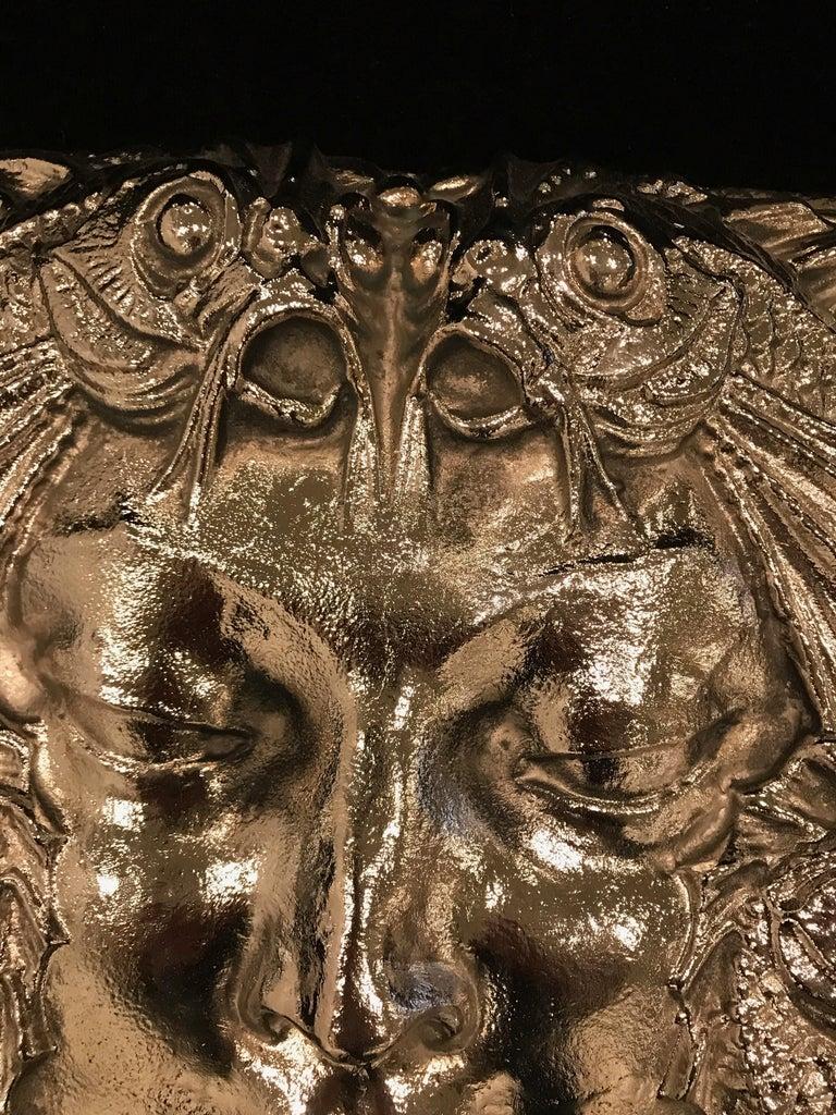 Bronze  Nickel Masque de Femme Face Wall Plaque Sculpture For Sale