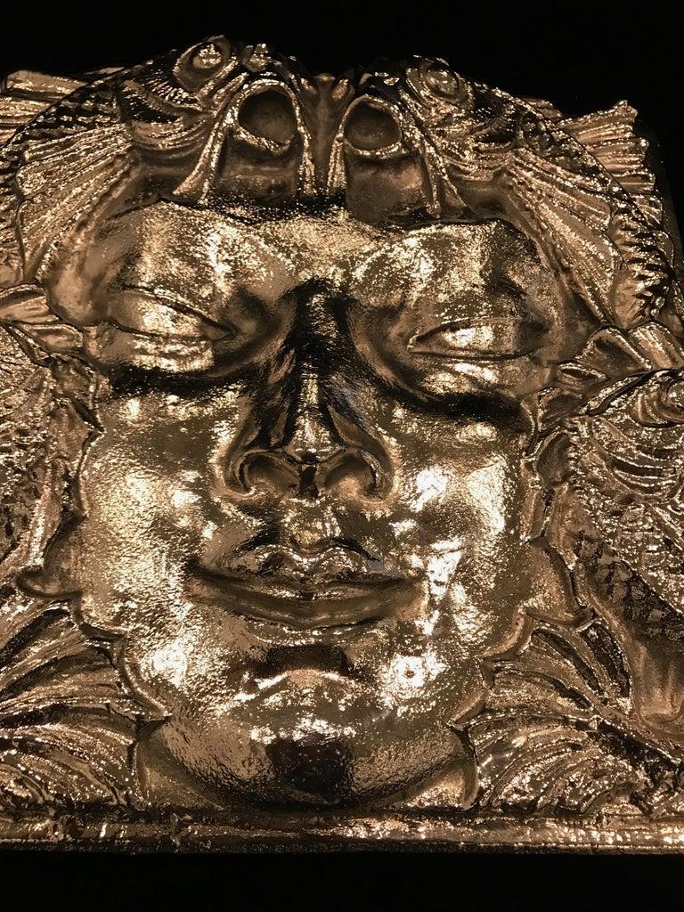 Nickel Masque de Femme Face Wall Plaque Sculpture For Sale 2