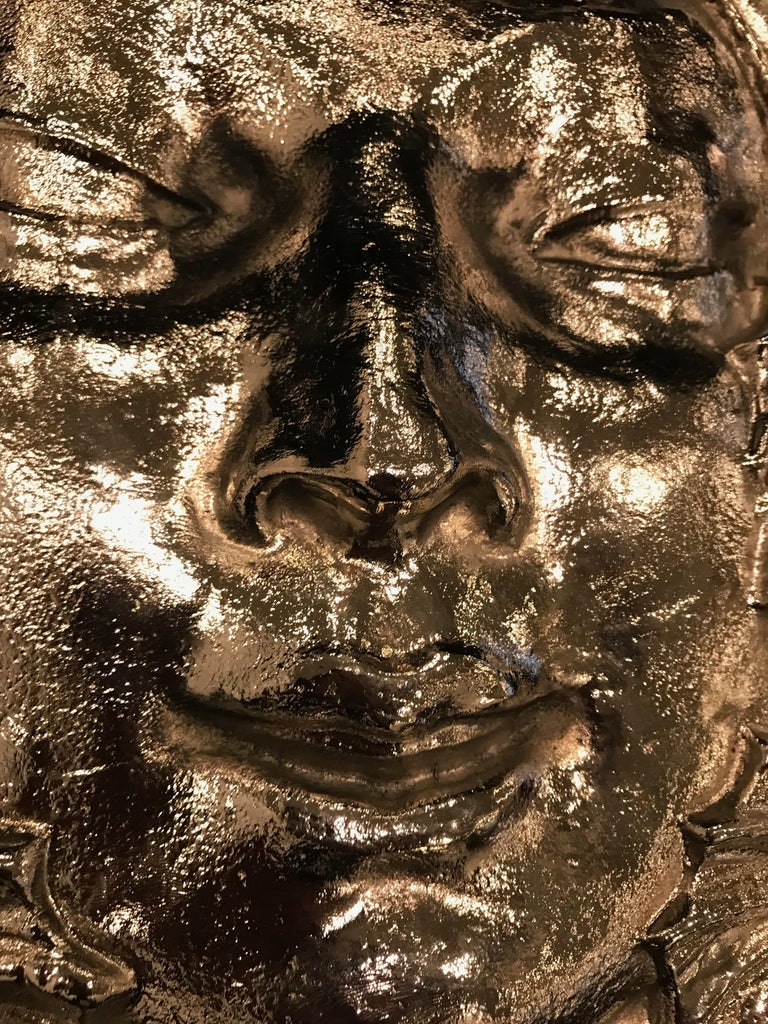 Nickel Masque de Femme Face Wall Plaque Sculpture For Sale 3