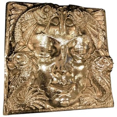 Nickel Masque de Femme Face Wall Plaque Sculpture