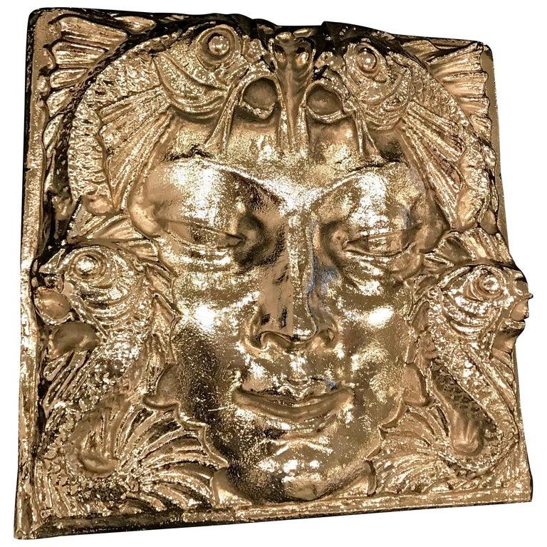 Nickel Masque de Femme Face Wall Plaque Sculpture For Sale