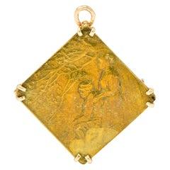 Lalique Nouveau 14 Karat Gold Bronze Forest Soldier Repousse Pendant Brooch
