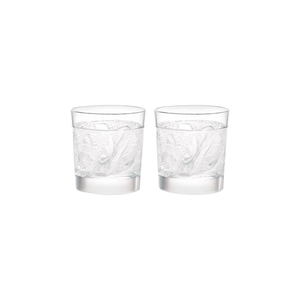 Lalique Owl Set of Two Cordial/Whiskey Tumblers in Clear Crystal