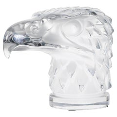 "Lalique Paris, France 'Modern' ""Eagle Head"" Crystal Mascot Signed LALIQUE France"