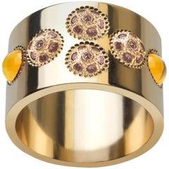 LALIQUE Petillante Amber Ring 18K Gold Size 55