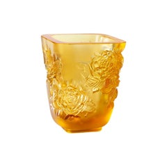 Lalique Pivoines Vase Small Size Amber Crystal