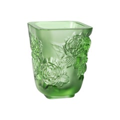 Lalique Pivoines Vase Small Size Green Crystal