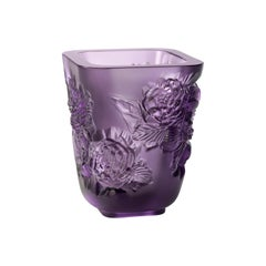 Lalique Pivoines Vase Small Size Purple Crystal