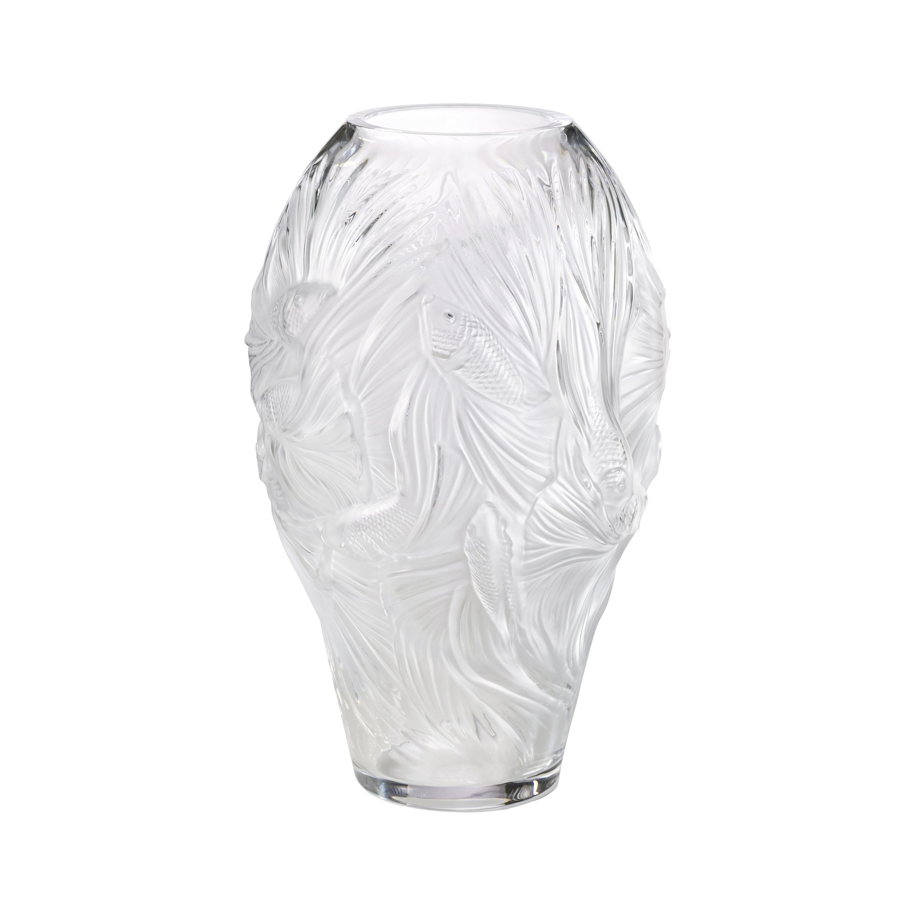 Lalique Poissons Combattants Grand Vase Clear Crystal