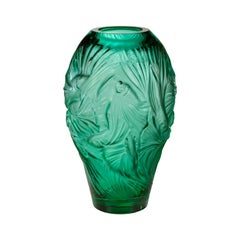 Lalique Poissons Combattants Grand Vase Mint Green Crystal