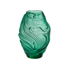 Lalique Poissons Combattants Medium Vase Mint Green Crystal