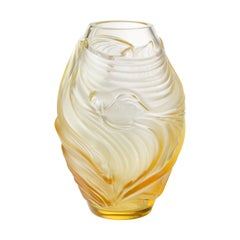 Lalique Poissons Combattants Small Vase Amber Crystal