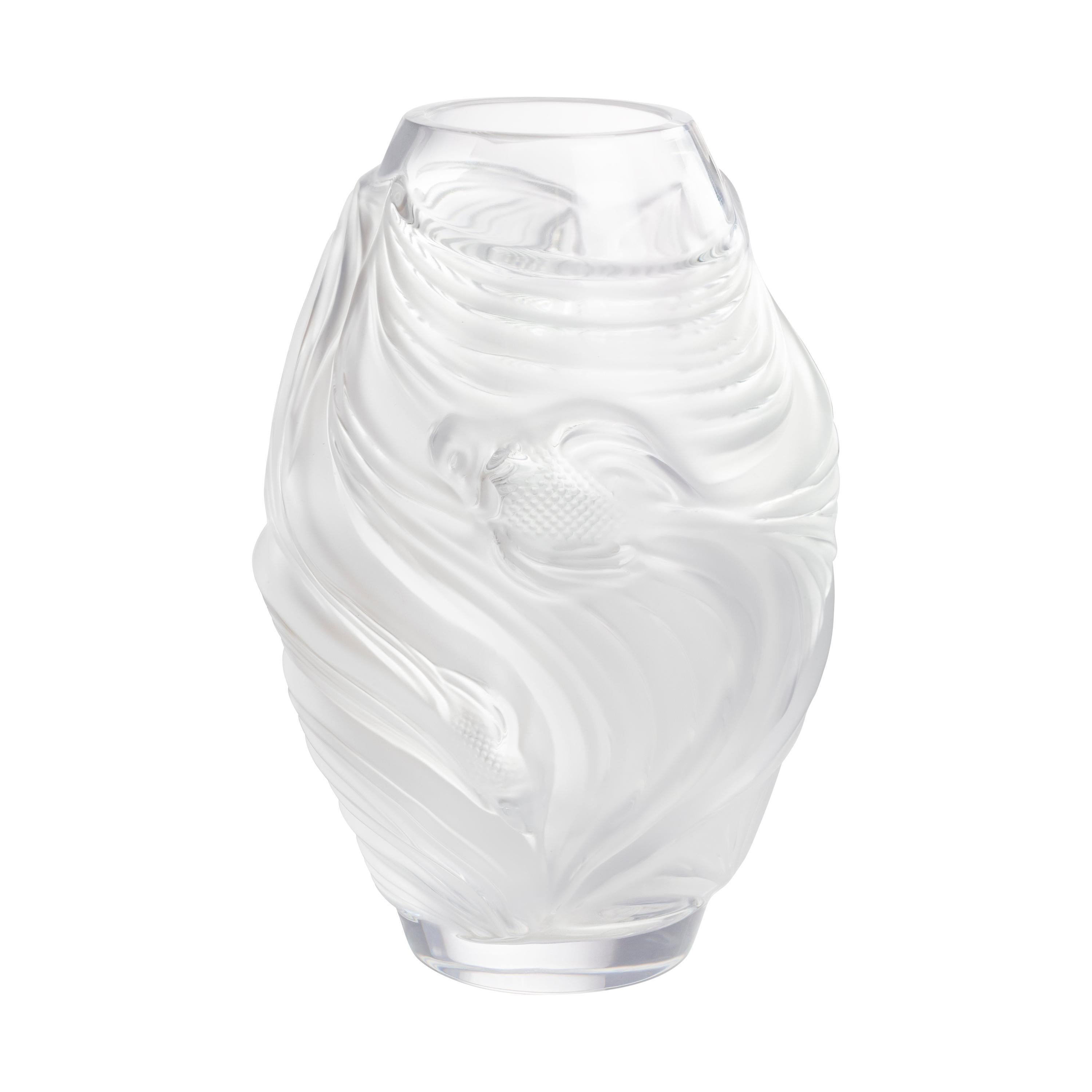 Lalique Poissons Combattants Small Vase Clear Crystal