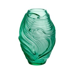Lalique Poissons Combattants Small Vase Mint Green Crystal