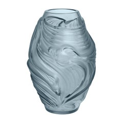 Lalique Poissons Combattants Small Vase Persepolis Blue Crystal