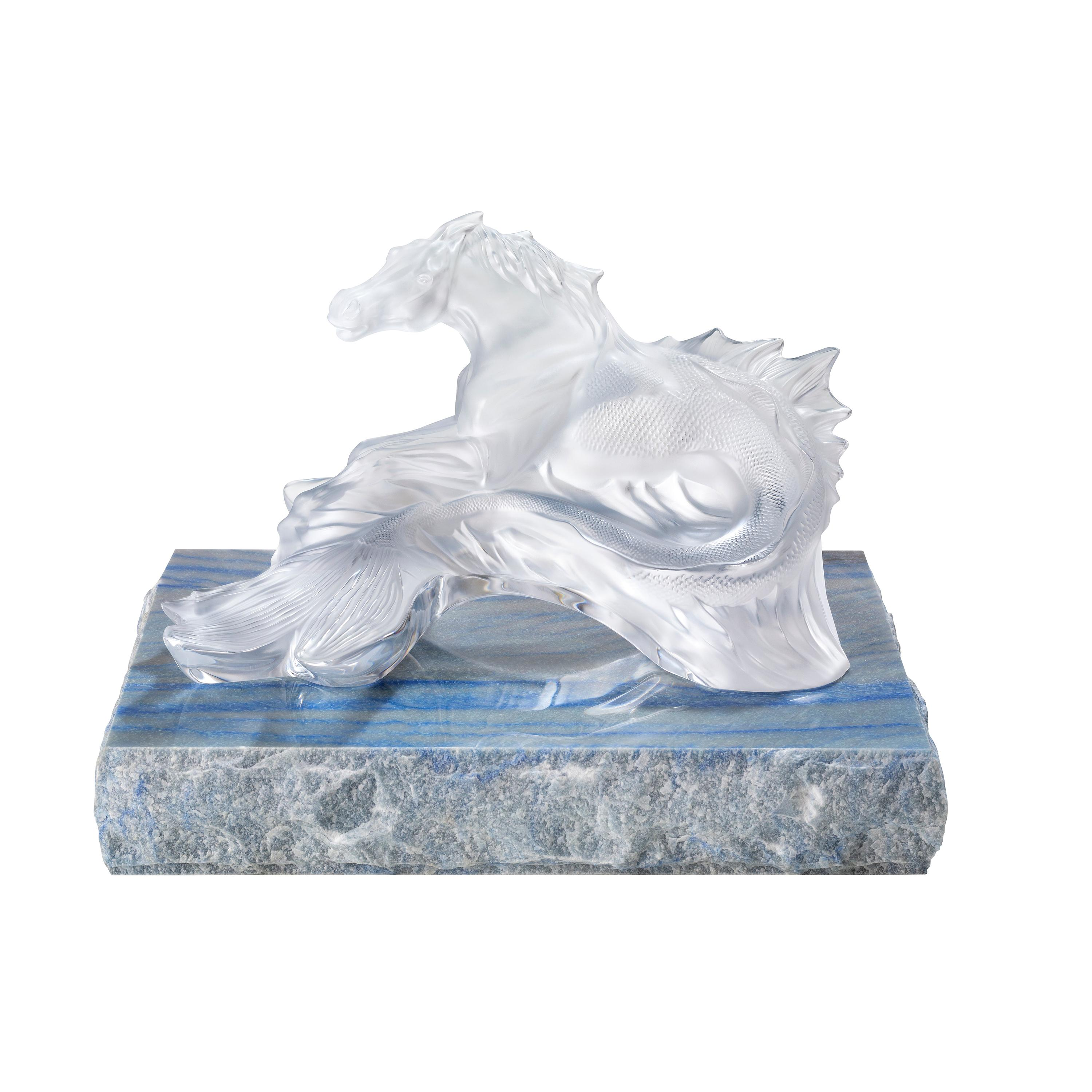 Lalique Poseidon's Horse Sculpture Clear Crystal, Marble Stand