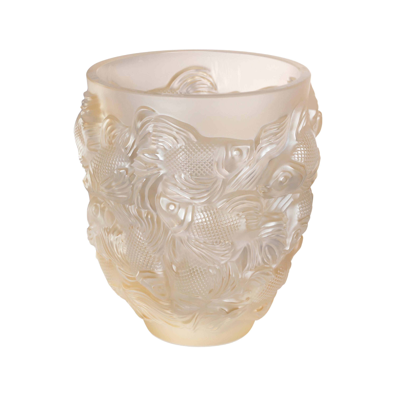 Lalique Rosetail Vase Gold Luster Crystal