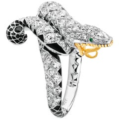LALIQUE Serpent Diamond Ring 18K White Gold Size 53