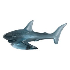 Lalique Shark Large Sculpture Persepolis Blue Crystal