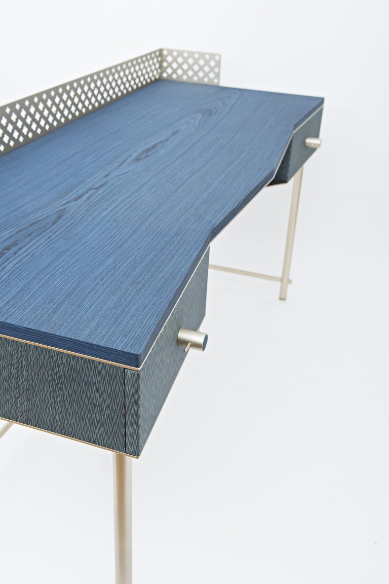 Italian Lalita Luxury Two Colours Fabric Effect Wooden Desk Made in Italy For Sale