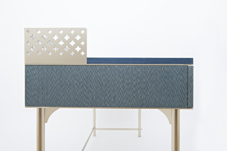 Lalita Luxury Two Colours Fabric Effect Wooden Desk Made in Italy In New Condition For Sale In Milano, IT
