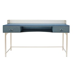 Lalita Luxury Two Colours Fabric Effect Wooden Desk Made in Italy