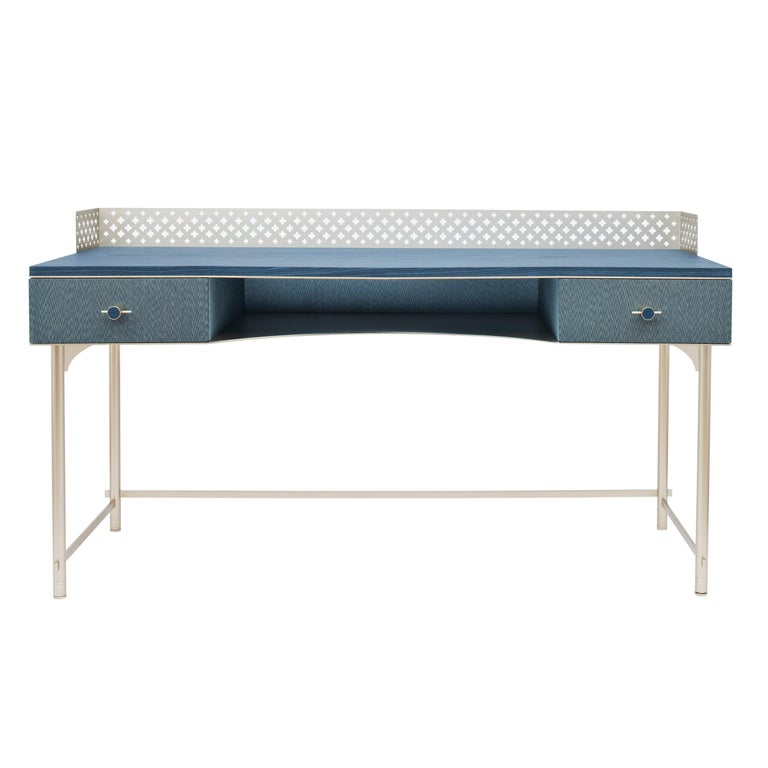 Lalita Luxury Two Colours Fabric Effect Wooden Desk Made in Italy For Sale