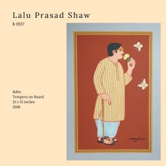 """Babu, Tempera on Board, Rust, Yellow, Brown, Grey by Lalu Prasad """"In Stock"""""""