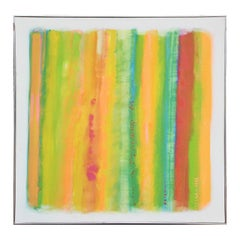 Large Modern Colorful Bright Yellow, Blue, Green, and Orange Abstract Painting