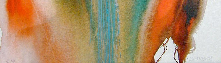 FEATHER DANCER Signed Lithograph, Native American Abstract, Rainbow Color Wash - Beige Abstract Print by Lamar Briggs