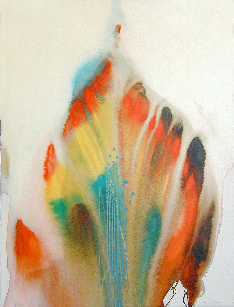Lamar Briggs Abstract Print - FEATHER DANCER Signed Lithograph, Native American Abstract, Rainbow Color Wash