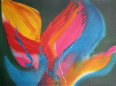 Fire Dancer, Colorful Abstract Expressionist Lithograph by Lamar Briggs