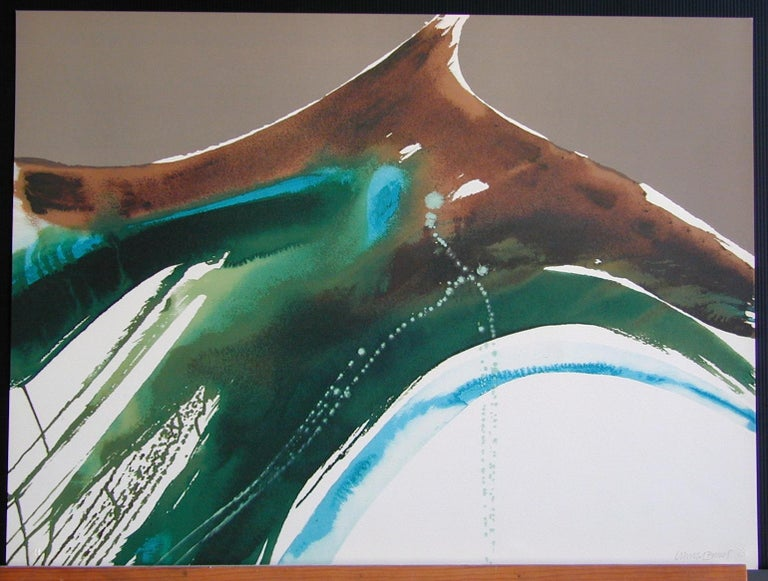 TIVA LANDSCAPE Signed Lithograph, Color Field Abstract Taupe Peacock Green Blue - Print by Lamar Briggs